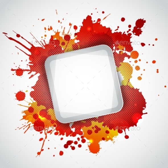 Modern White Frame with Red Blots - Backgrounds Decorative