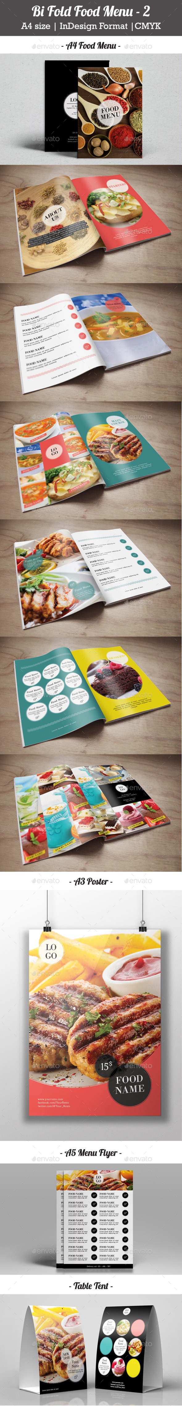 Bi Fold Food Menu - 2 - Food Menus Print Templates
