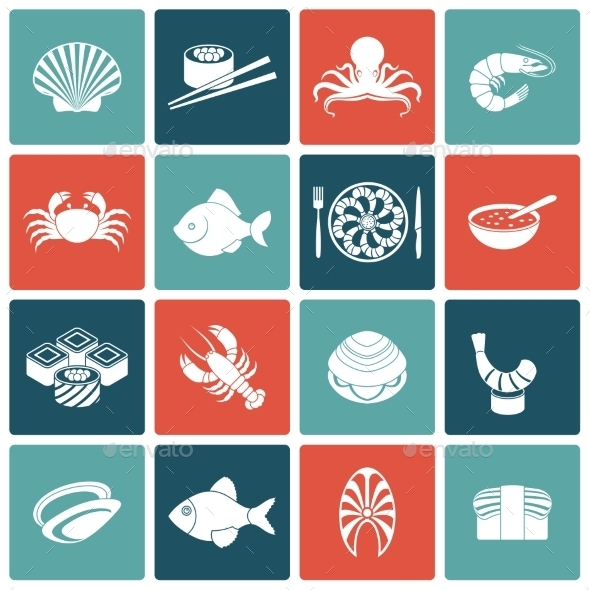Seafood Icons Set Flat - Food Objects