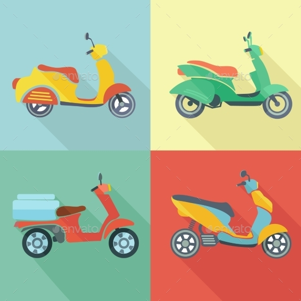 Scooter Icon Flat Set - Travel Conceptual