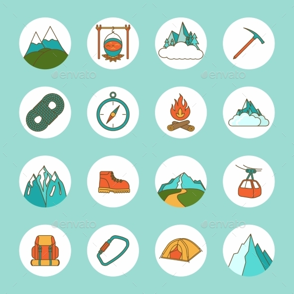 Mountain Icons Flat - Web Icons