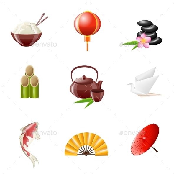 Japanese Icons - Decorative Symbols Decorative