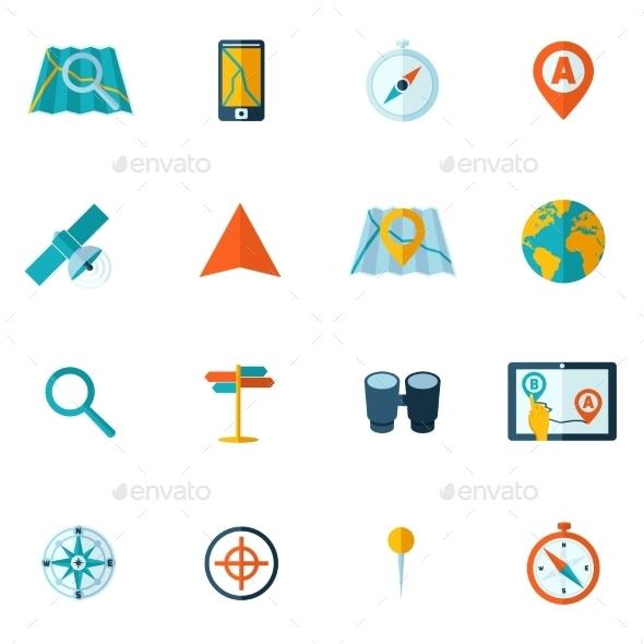 Navigation Icon Flat Set - Web Technology