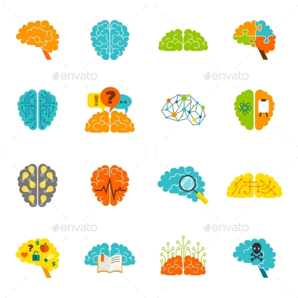Brain Icons Flat - Organic Objects Objects