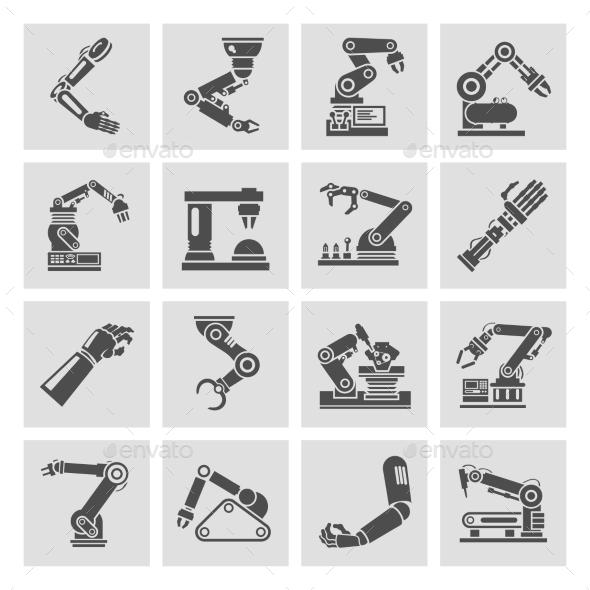Robotic Arm Icons - Technology Conceptual