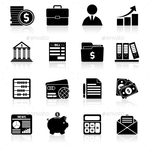 Accounting Icons Set Black - Business Conceptual