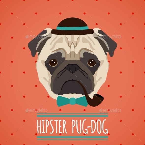Hipster Dog Portrait - Animals Characters