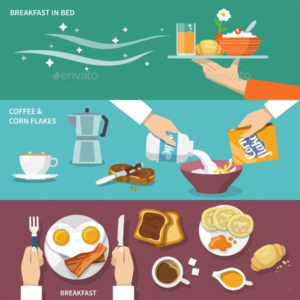 Breakfast Banner Set - Food Objects