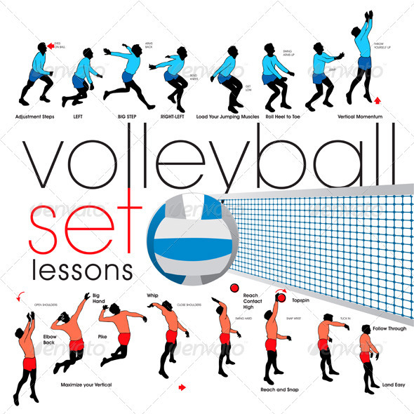Volleyball Exercises Set  - Sports/Activity Conceptual