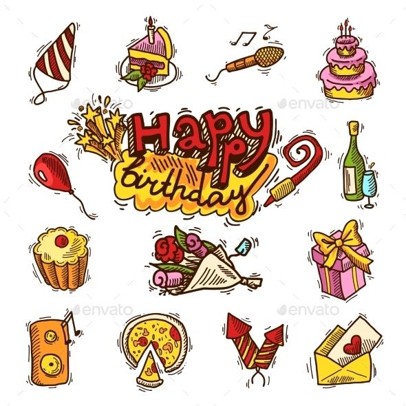Birthday Sketch Color Icon Set - Birthdays Seasons/Holidays