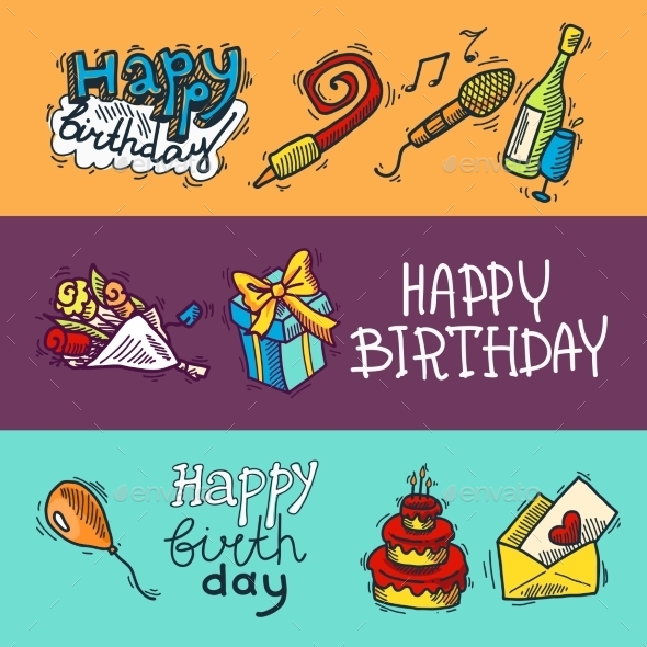 Birthday Sketch Banner Set - Birthdays Seasons/Holidays