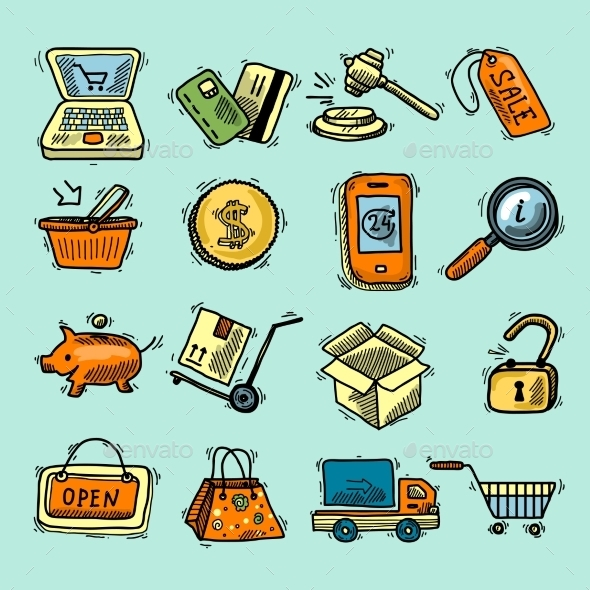 E-Commerce Color Icons Set - Retail Commercial / Shopping