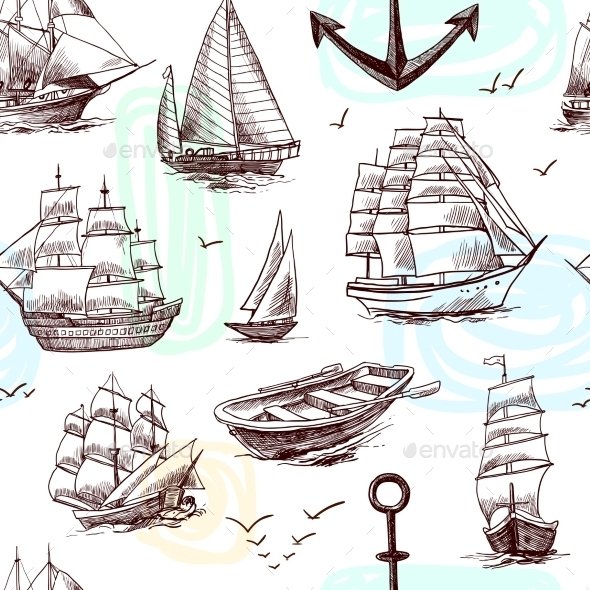 Ships and Boats Sketch Seamless Pattern - Backgrounds Decorative