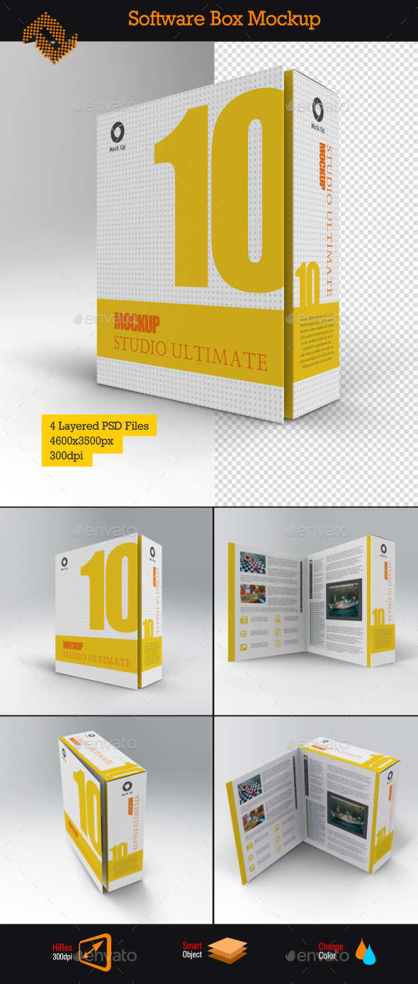 Software Book Style Box Mockup - Packaging Product Mock-Ups