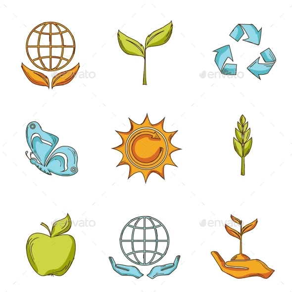 Ecology and Waste Icons Set - Web Elements Vectors