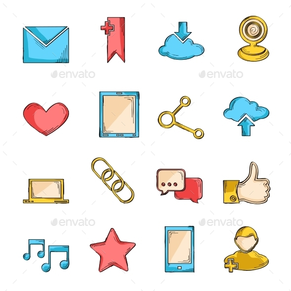 Social Network Icons Sketch  - Media Technology