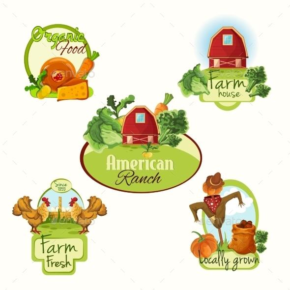 Farm Fresh Labels Colored Set - Miscellaneous Vectors