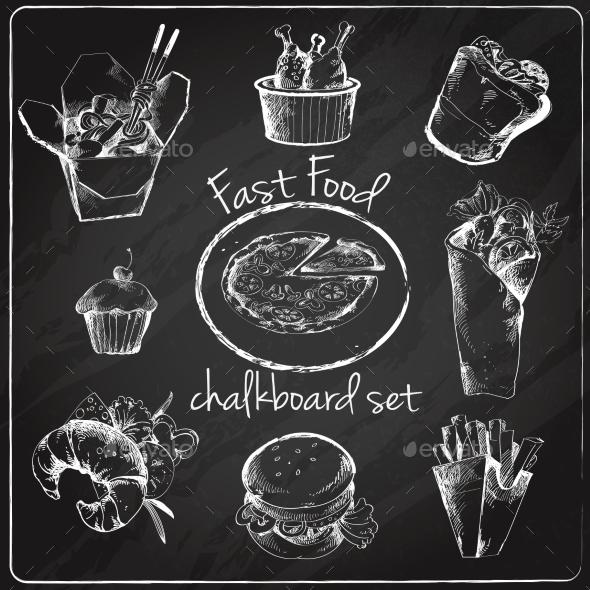 Fast Food Icon Chalkboard - Food Objects