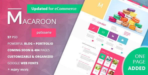 Macaroon - Creative Patisserie PSD Template - Restaurants & Cafes Entertainment