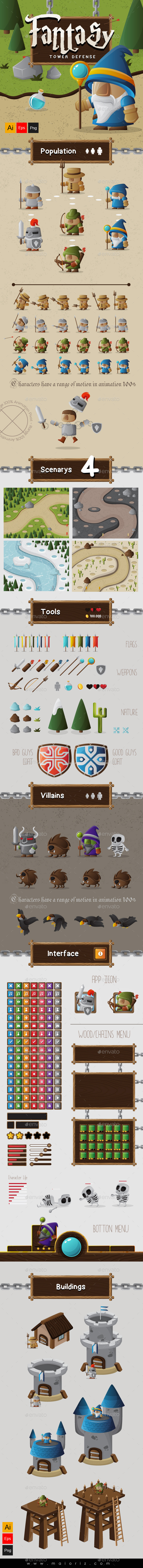 Fantasy Tower Defense Assets - Game Kits Game Assets