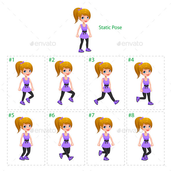 Animation of Girl Walking - People Characters