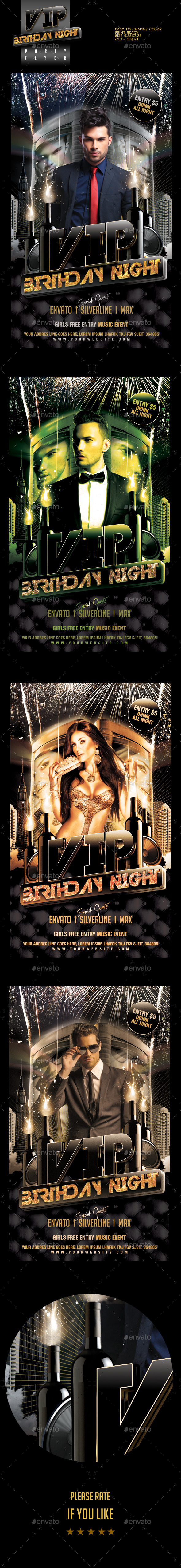 VIP Birthday Party Flyer Template - Clubs & Parties Events