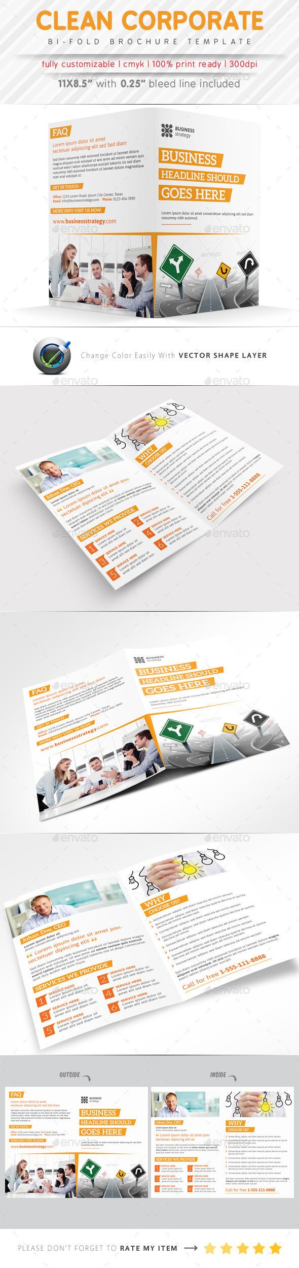 Clean Corporate Bi Fold Brochure - Corporate Brochures