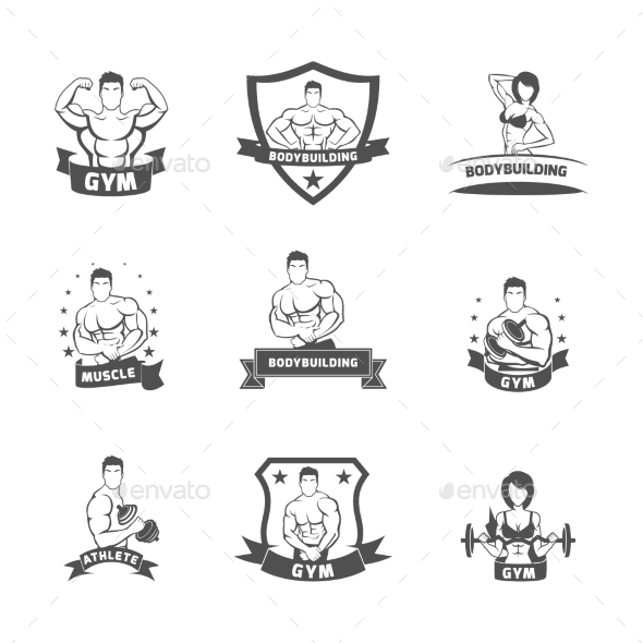 Bodybuilding Fitness Gym Labels - People Characters