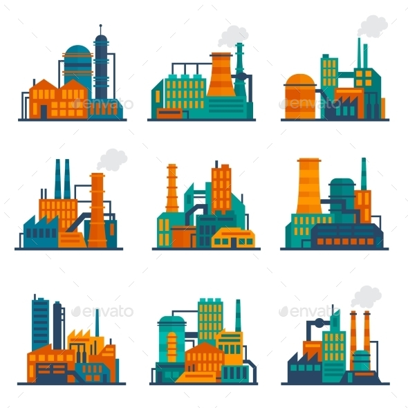 Industrial Building Icons Set - Buildings Objects