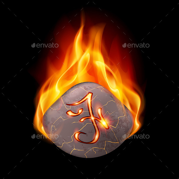 Burning Stone with Magic Rune - Objects Vectors