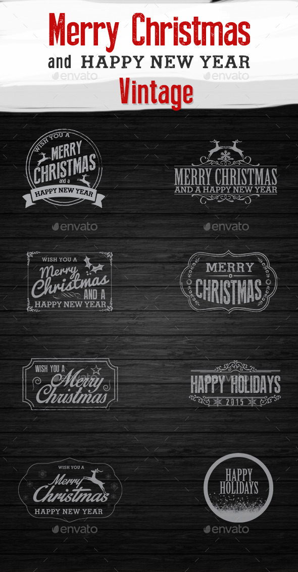 Christmas and New Year Vintage - Badges & Stickers Web Elements