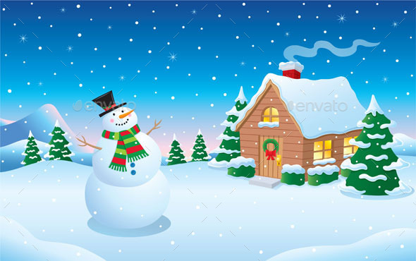 Snowman and Cabin Snow Scene - Christmas Seasons/Holidays