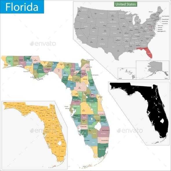 Florida Map - Travel Conceptual