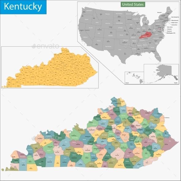 Kentucky Map - Travel Conceptual