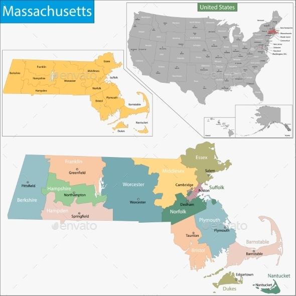 Massachusetts Map - Travel Conceptual