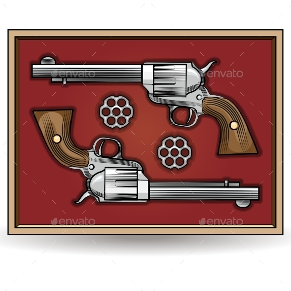 Set of Revolvers Drawn in Vintage Style - Man-made Objects Objects