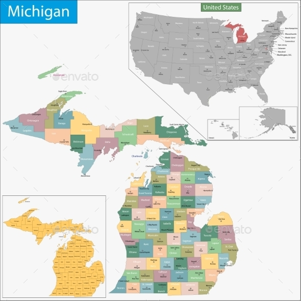 Michigan Map - Travel Conceptual