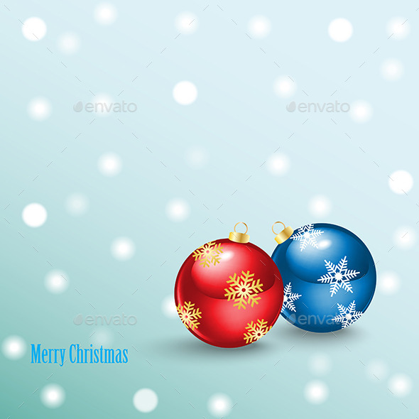 Merry Christmas Background with Balls - Christmas Seasons/Holidays