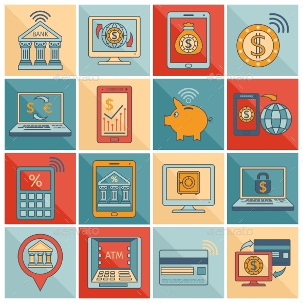 Mobile Banking Symbols - Technology Conceptual