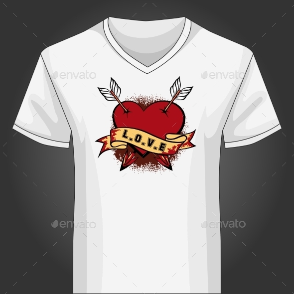 V Neck Shirt Template with Heart Pierced by Arrows - Valentines Seasons/Holidays