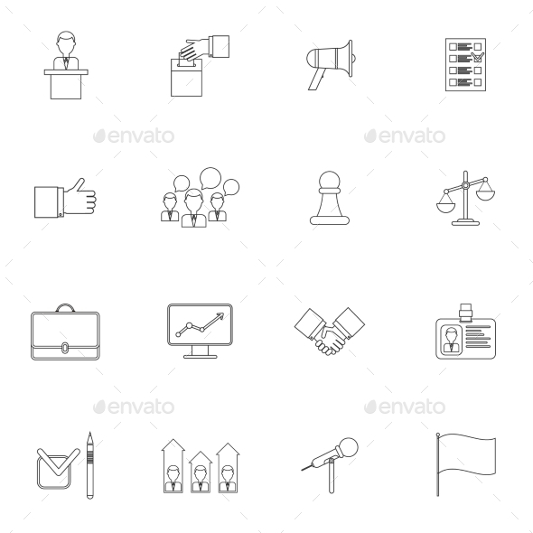 Elections Icons Set Outline - Web Technology