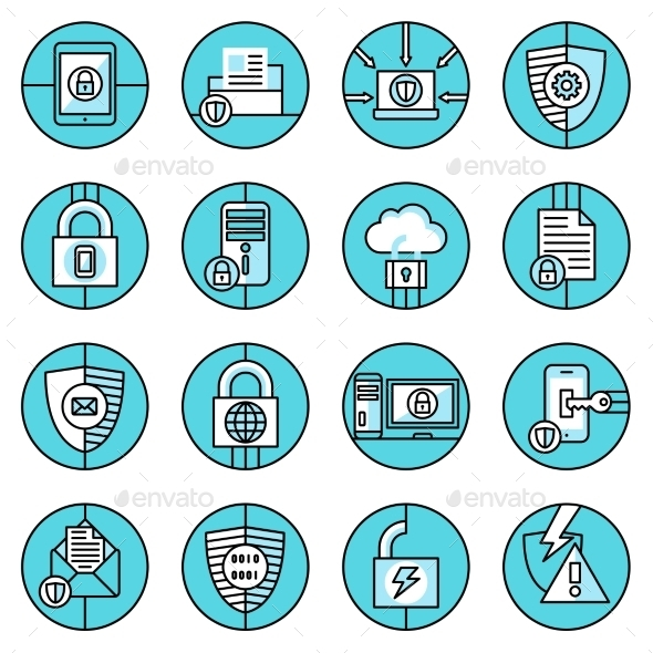 Data Protection Icons Blue Line - Web Technology