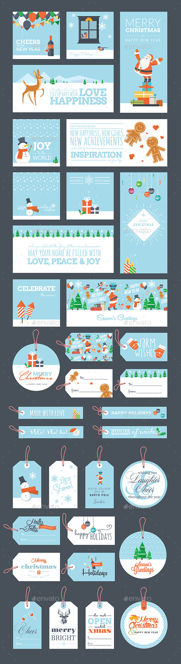 Christmas and New Year Greeting Cards and Tags - Seasons/Holidays Conceptual
