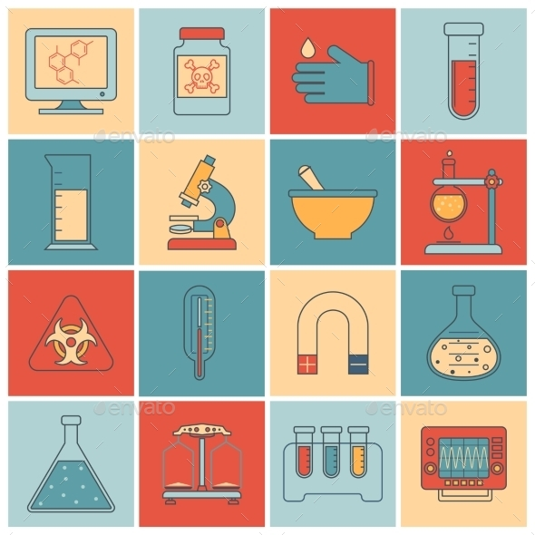 Laboratory Equipment Icons Flat Line - Web Technology