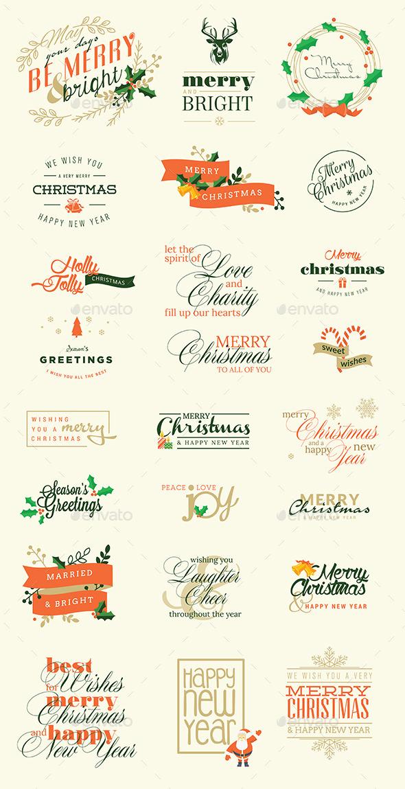 Set of Christmas and New Year Signs - Seasons/Holidays Conceptual