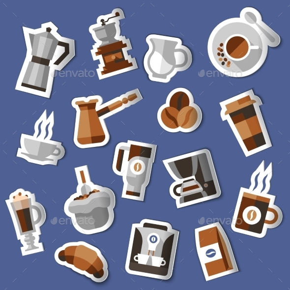 Coffee Stickers Set - Food Objects