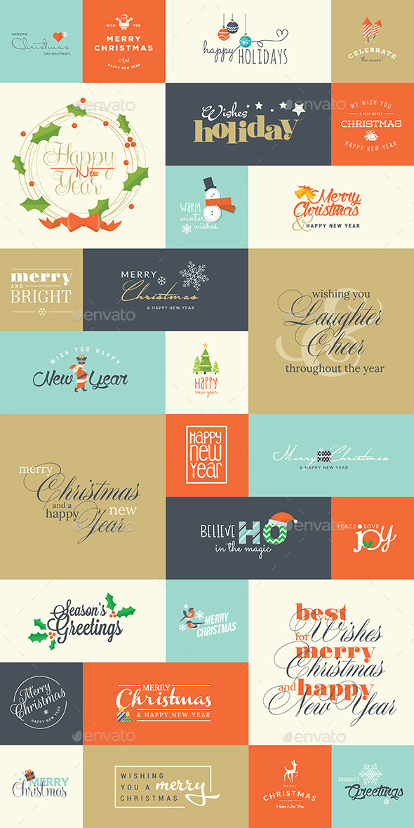 Set of Christmas and New Year Signs  - Seasons/Holidays Conceptual