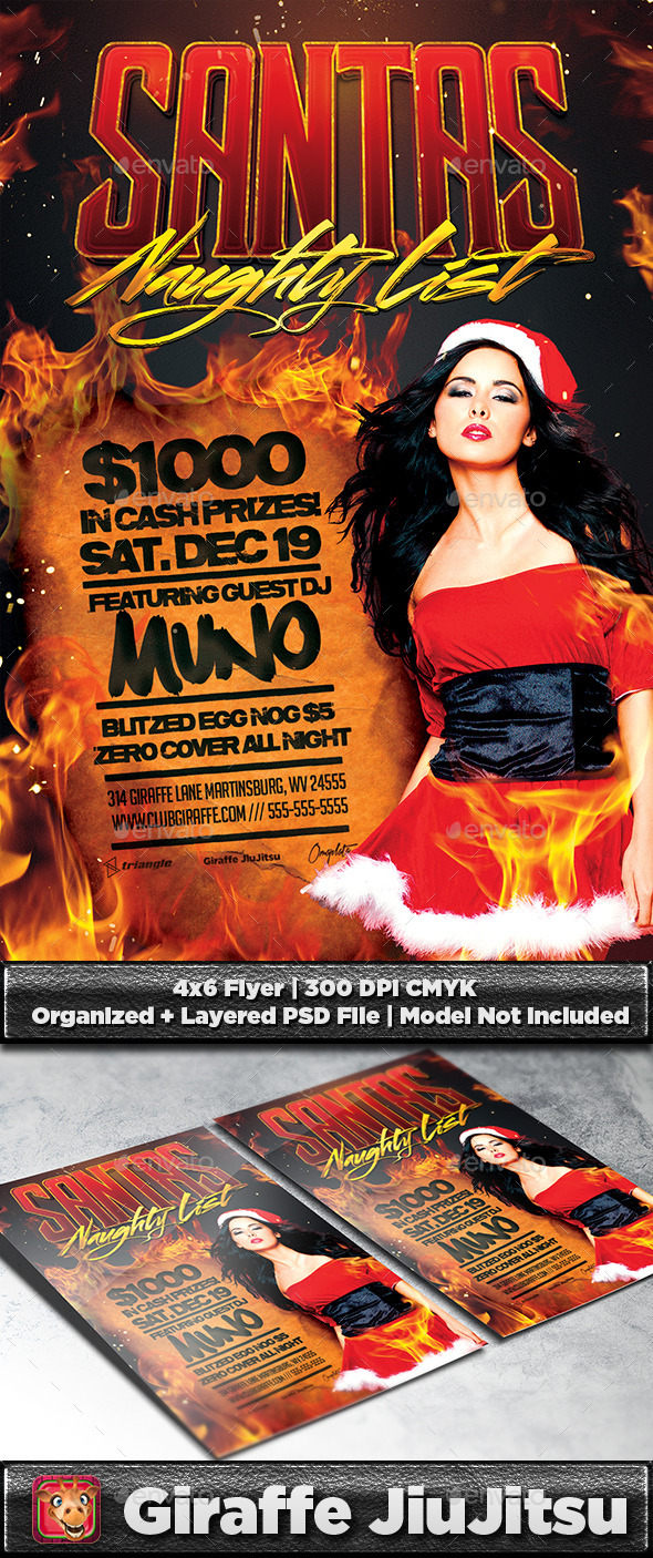 Santa's Naughty List Flyer Template - Clubs & Parties Events