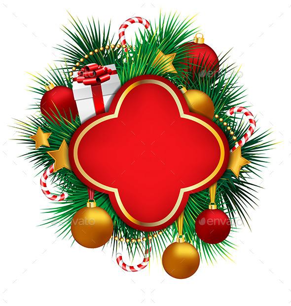 Frame on Pine with Adornments - Christmas Seasons/Holidays