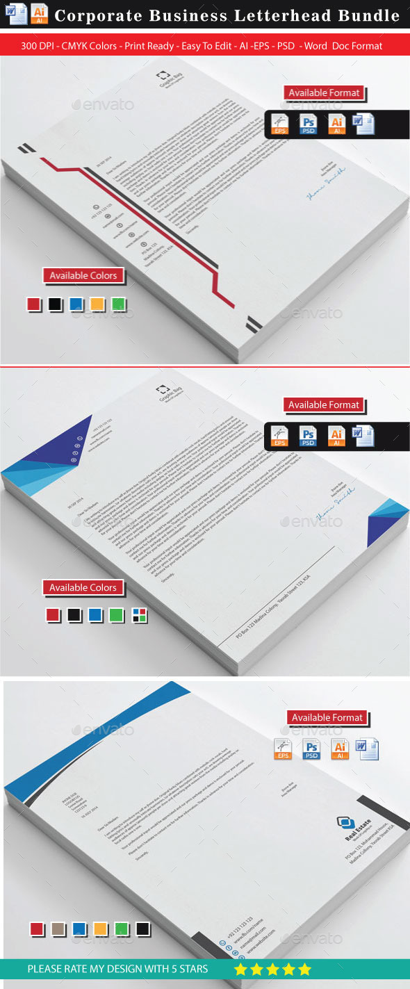 76 Corporate Modern Letterheads - Stationery Print Templates
